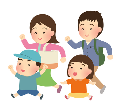 Illustration of family going out