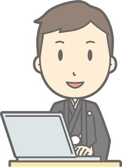 Groom kimono - PC smile - bust