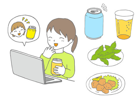 Illustration of online drinking party