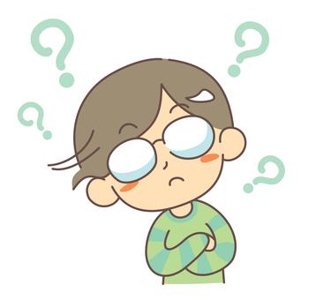 의문 고개를 갸웃 안경의 남성
