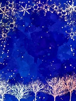 冬天树和天空/垂直/雪花