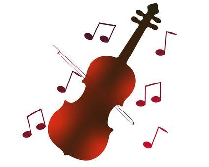 바이올린과 악보 그라데이션 실루엣