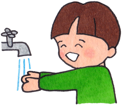A child washing hands (boys)