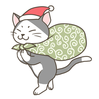 A thief cat wearing a Santa cap