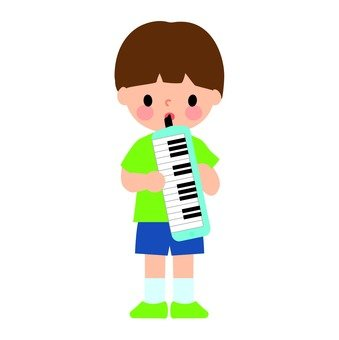 A child blowing a pianica
