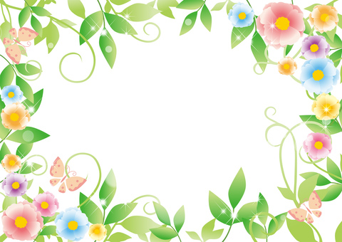 Fresh green and flowers _ frame