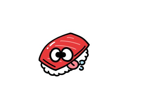 自分にヨダレをたらすお寿司マグロ