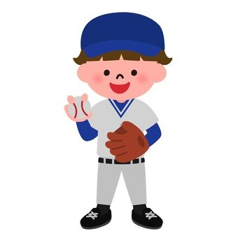 A boy in a baseball uniform