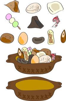 오뎅 속재료 단품과 냄비