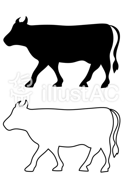 牛のシルエット黒白イラスト No 793556無料イラストなら