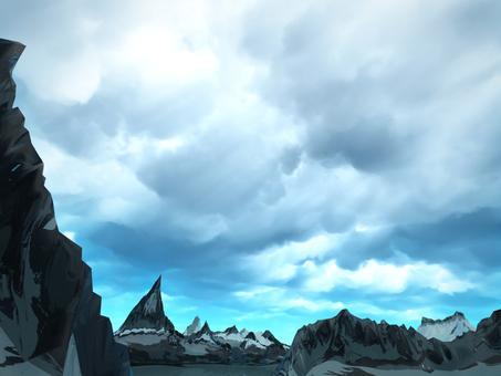 Fantastic fantasy landscape (rain sky)