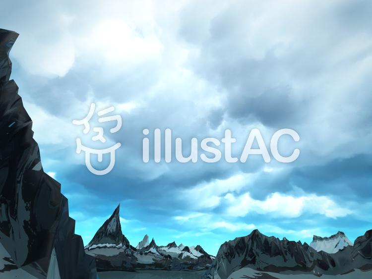 幻想的なファンタジーな景観(雨の空)のイラスト