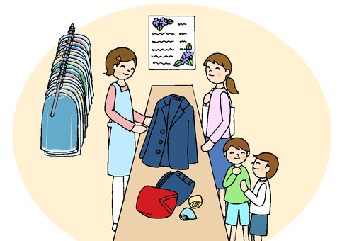 Cleaning shop receptionist female line black