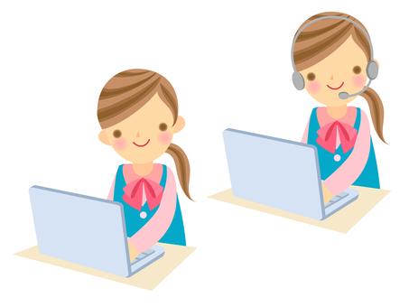 Computer, woman and income