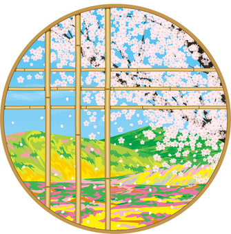 Spring nozan and cherry blossoms viewed from Japanese style decorative windows