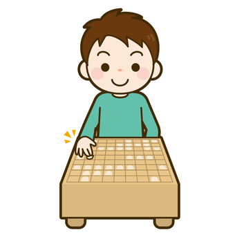 Child pointing to shogi