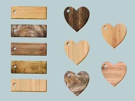 Various wood grain tag set (heart)