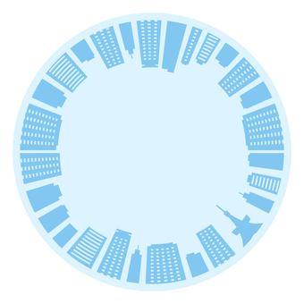 円形のビル群の商用無料イラスト素材