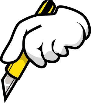 Hand holding cutter