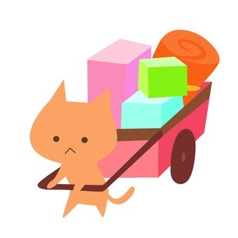 Moving - cat pulling a cart