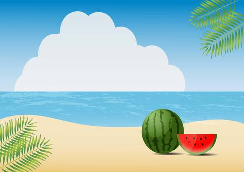 Summer sea and watermelon illustration