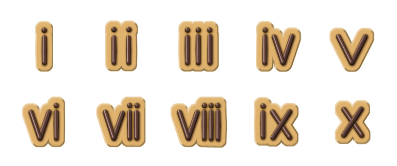 Chocolate character (small Roman numeral) for character biscuit