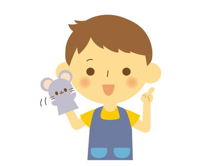 Nursery teacher male puppet