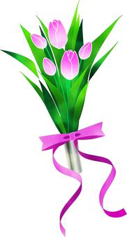 수채화 터치의 분홍색 튤립의 꽃다발