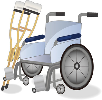 Wheelchair and crutches