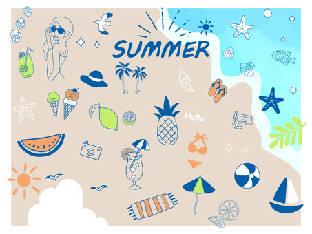 Handwritten summer illustration set 5