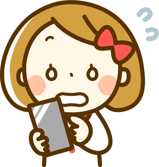 A girl who is impatient with a smartphone