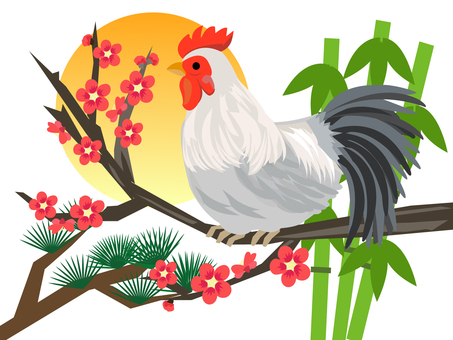Rooster chicken and Shochiku plum