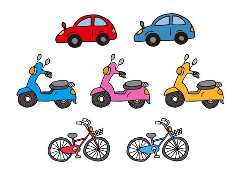 Car, bicycle, scooter icon set