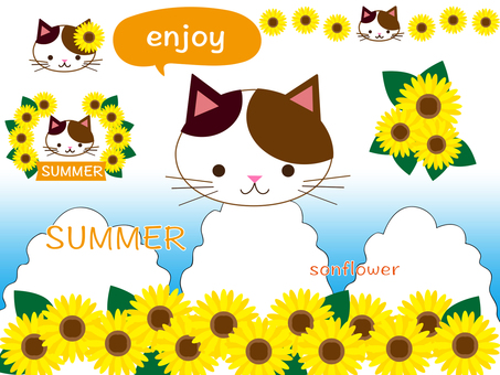 Mike cat and sunflower