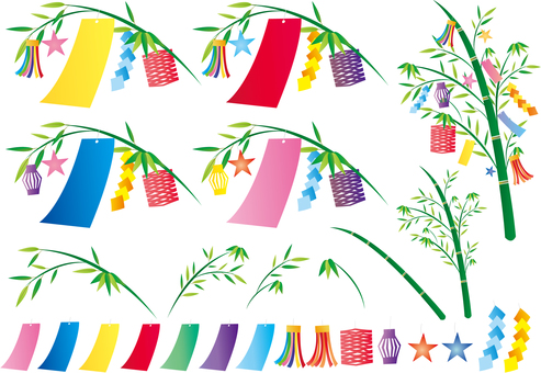 Tanabata's bamboo leaves strip decorations set