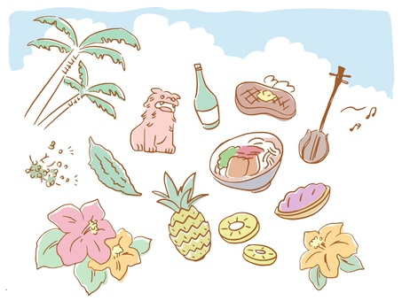 Loose pastel Okinawa illustration