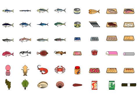 Aquatic products / aquatic products processed set icon