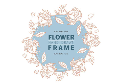 Rose hand-painted frame