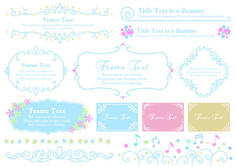 Watercolor material 019 Girly frame set