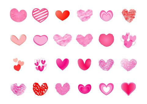 귀여운 발렌타인 하트 아이콘 세트