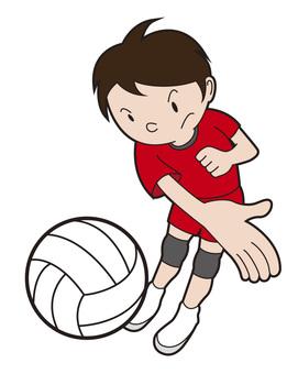Volleyball boy hitting attack