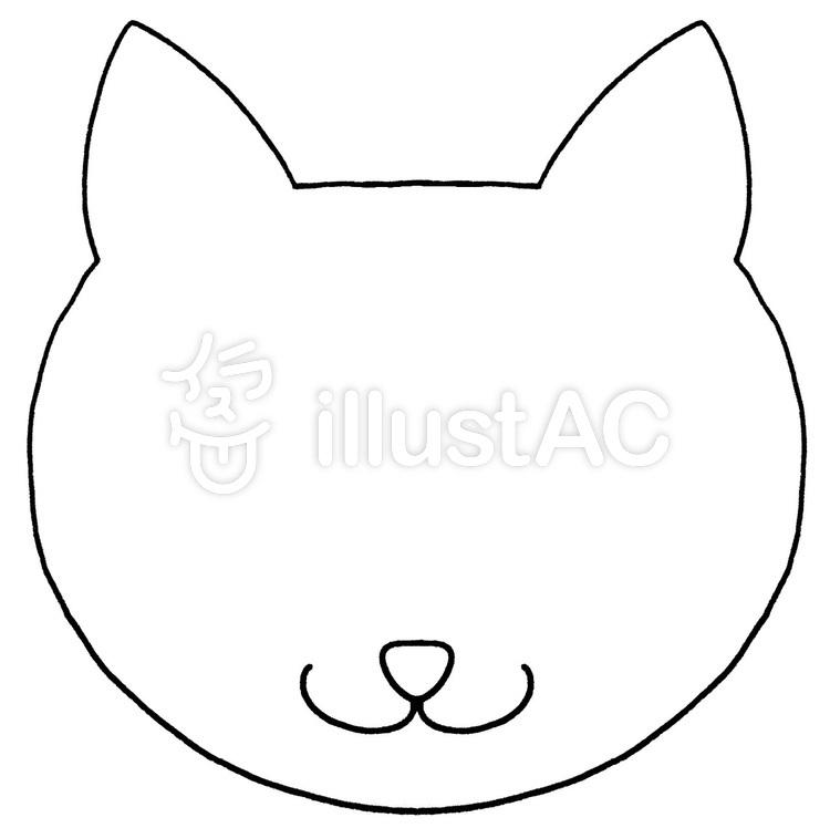 猫の顔フレーム 白黒イラスト No 無料イラストなら イラストac