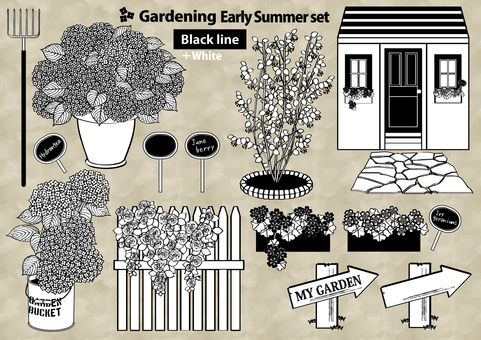 Gardening set early summer line drawing + white
