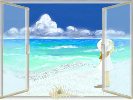 여름 풍경 창가에서 바다와 소녀