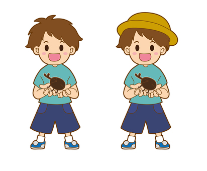 벌레 잡기를하는 어린 소년