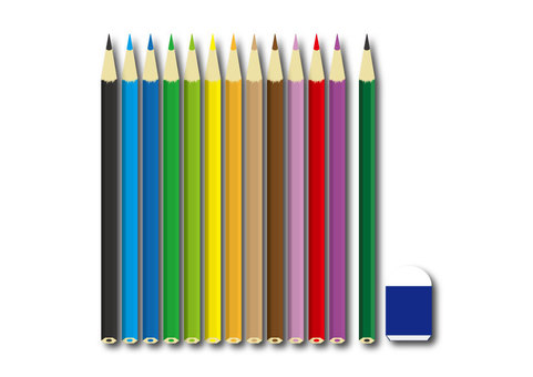 Colored pencil with no background 12 colors