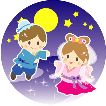 Orihime and Hikoboshi in the night sky