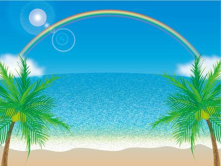 Blue sky, sea, rainbow and palm tree _ sand beach