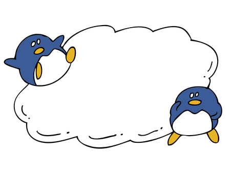 Speech bubble and two penguins