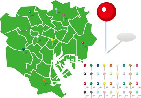 Tokyo 23 Ward Map Map Pin